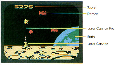 The first screen of Demon Attack for the Intellivision